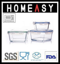 Microwave Able Square Glass Containers Set of 3 3 In 1 Set