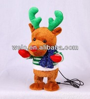 Animated swing body stuffed animal plush toy, christmas Reindeer with MP3 player function