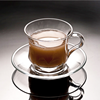 Hot new products for 2015 glass tea cup sets, coffee glass cup with saucer