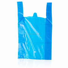 Plastic Thick T Shirt Handle Shopping Bags, Multi-Use Large Size Merchandise Bags, Blue Plain Grocery Bags, Durable