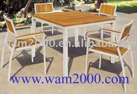 Teak wood dining table and chair for outdoor