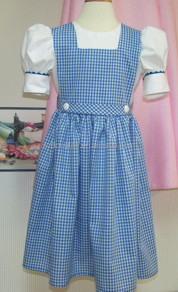 Little Girls Blue Plaid Dress Children Back To School Dress