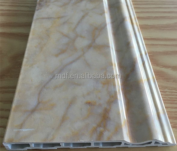 Marble color /wooden grain color /solid color PVC skirting board suitable for all kindsof flooring