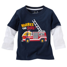 2016 best selling dark blue long sleeve character high quality kids cotton t shirt with wholesale price