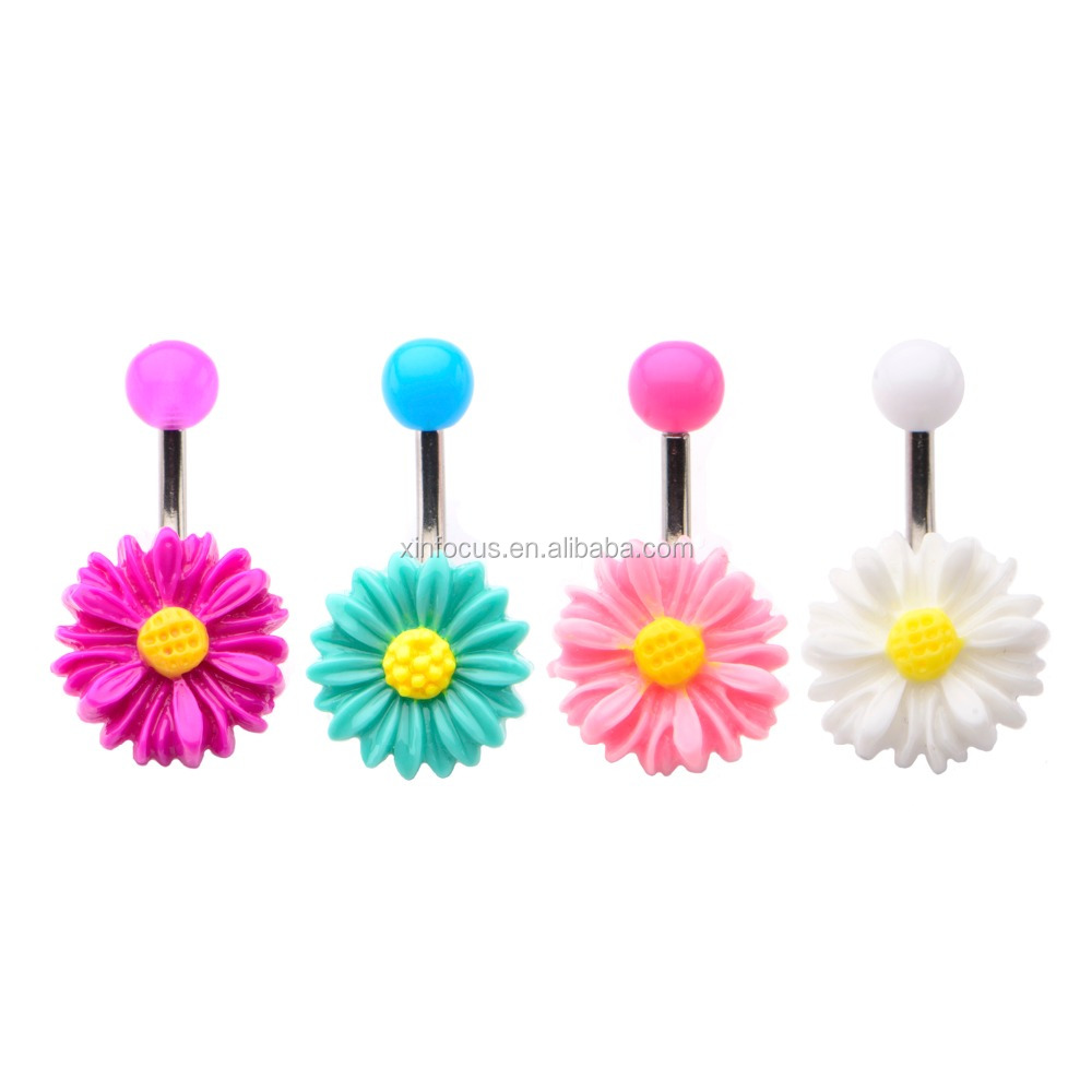 Acrylic Flower Navel Belly Button Ring