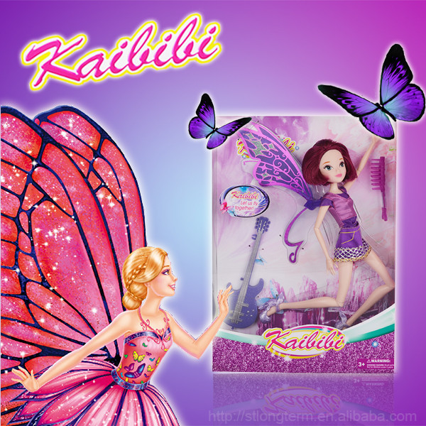 Plastic Lovely Butterfly Fairy Princess Barbie Doll for Girls