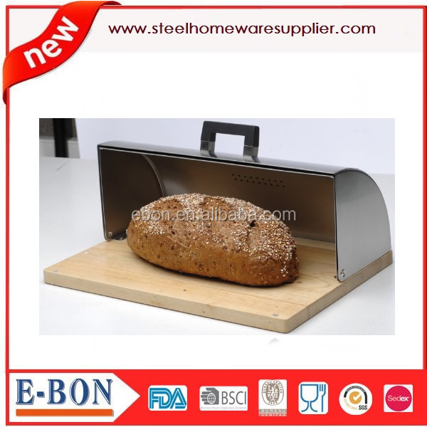 stainless steel modern kitchen bread bin with wooden base