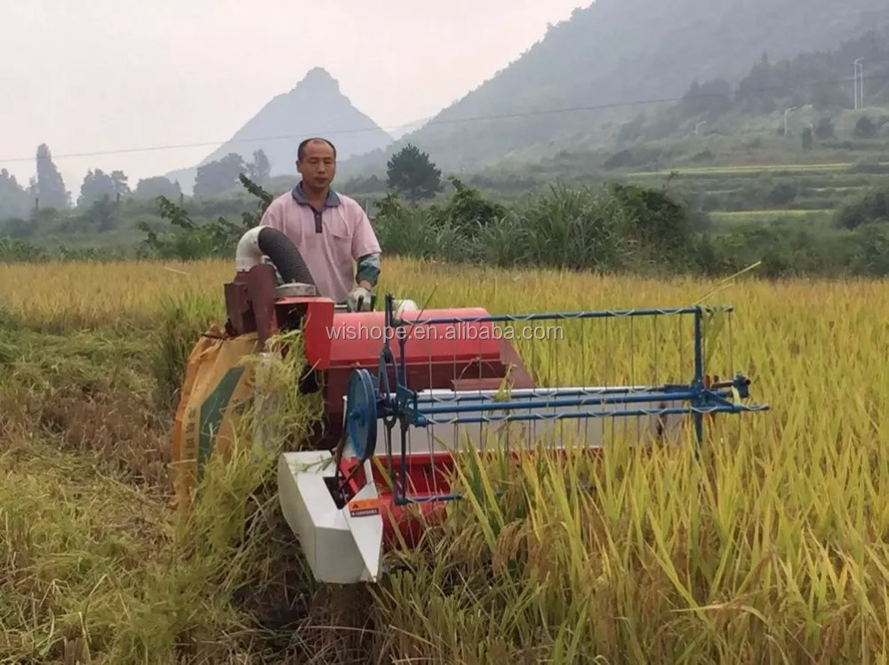 Rubber Crawler Type Mini Rice Harvester for Muddy Field in Cambodia