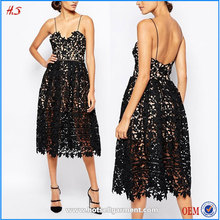 clothing factories in china lady clothing latest fashion dresses black lace midi dress in textured lace