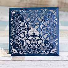 Royal Navy Blue Laser Cut Wedding Invitations With Ribbon