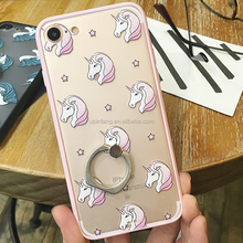 Good Price Crazy Horse Pattern transparent mobile phone case With Stand for iPhone