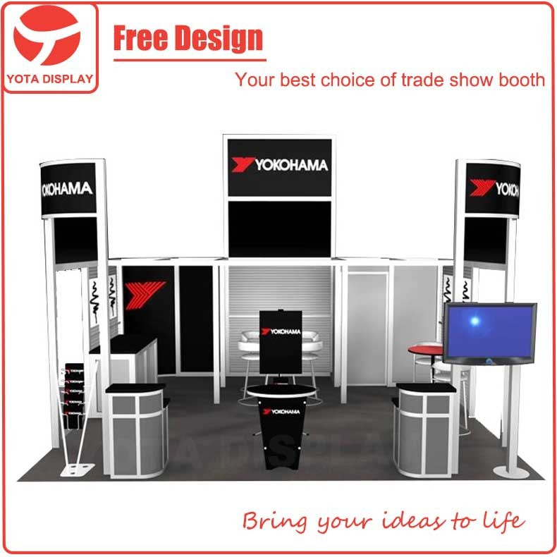 Yota 10x10,10x20 or 20x20 variable layout portable exhibition booth with TV stand
