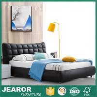 Black Leather Beds with Storage Upholstered Bed Frame 1204