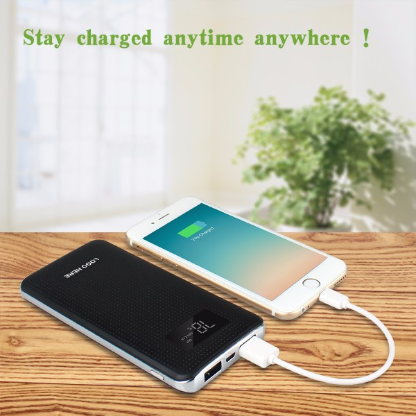 Real capacity 10000mah 5V 3A LCD screen table menu power bank with advertising