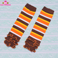 In Stock! Thanksgiving Ruffled Leg Warmers Orange Yellow Brown Stripes Knitting Pattern Baby Socks Thanksgiving Leg Warmers