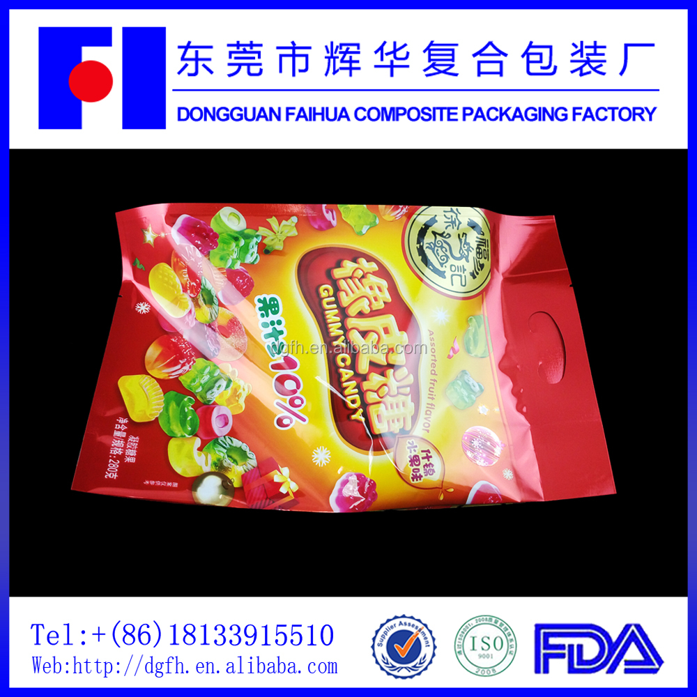 Best print confection use laminating product ziplock foil bag with one side clear