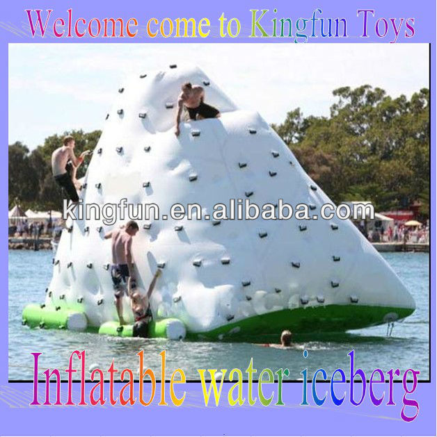 Inflatable floating hill iceberg on water
