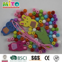 Mixed colors and shapes diy wood beads for craft jewelry