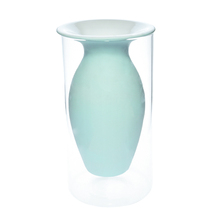 Wholesale modern blue ceramic vase with Cylinder Clear glass vase fillers for flower arrangement