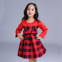2016 Autumn girls longsleeve grid dress children red bow dresses kids frock designs