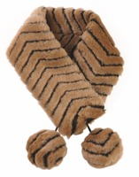 Brown Winter Warm Animal Tiger Line Stripe Pattern Polyester Pon Pon Fake Fur Party Women Ladies Female Girls Collar Scarf