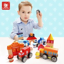 Creative Fire /Hospital/ Police/ School Building Blocks set Wooden Construction Toys for child 2018