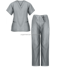 regular V-neck short sleeves hospital nurse scrubs and medical uniforms unisex