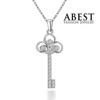 Hot Sale Key Pendant Sterling 925 Silver Plating 18K White Gold Elegant Pendant Necklace Jewelry