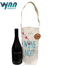 Cotton Canvas Reusable Wine Gift Bag Tote Single Bottle Canvas Wine Totes and Carriers