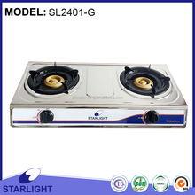 Household Gas Cooker- Hot Sale Table 2 Burner Stainless Steel Gas Cooker(SL2401-G)