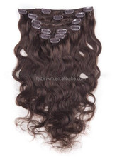 Newest amazing quality grey color clip in hair extension