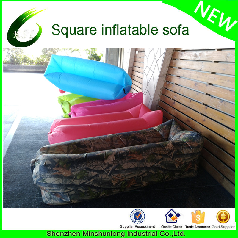 2017 summer beach equipment inflatable one mouth opening portable couch child outdoor lazy sofa with pocket
