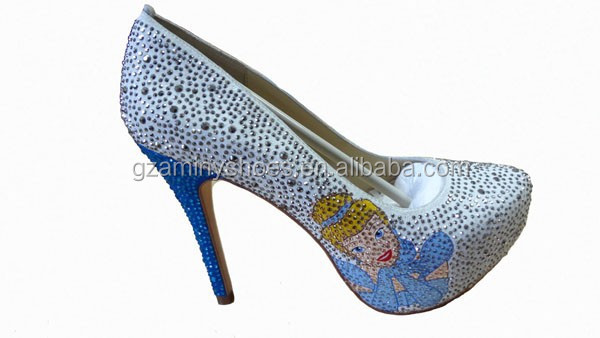 Hot sell top quality high heel pump with rhinestone women dress party shoes