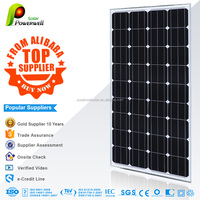Powerwell Solar 100 watt 18v mono solar panel photovoltaic with CEC/IEC/TUV/ISO/INMETRO/CE certifications