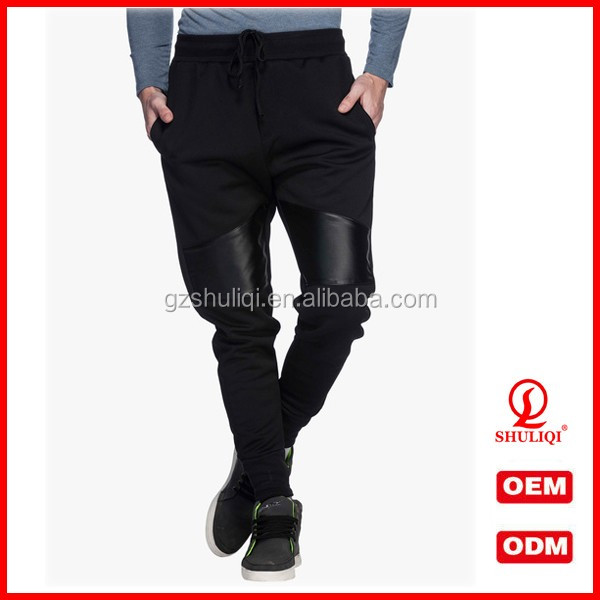 Hot Selling Custom Jogger Pants Men Black Solid 100% Polyester Track Pants