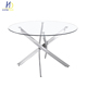 Modern round glass dining table 6 chairs set