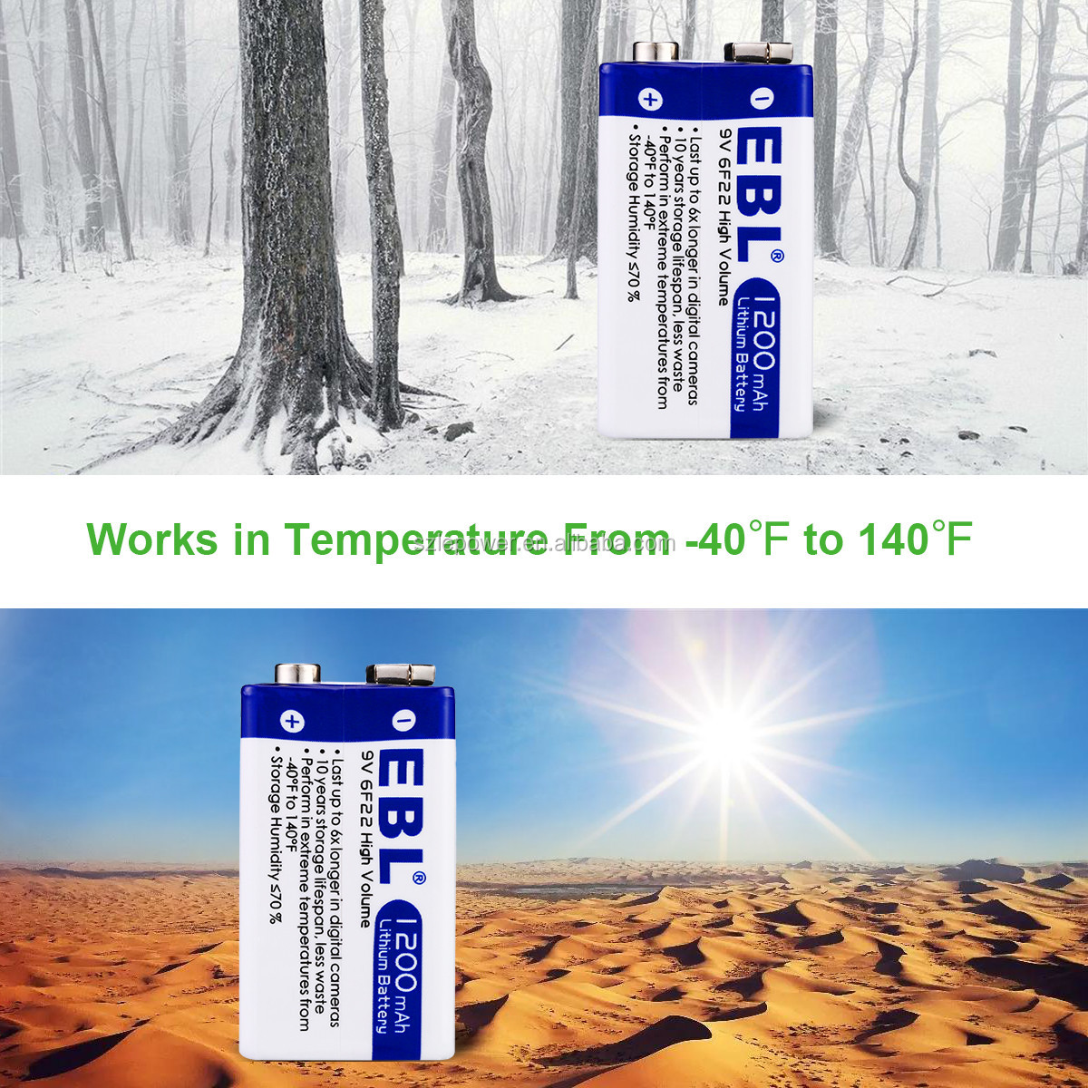 Hot selling1200mAh Lithium battery 9V Dry Cell Battery