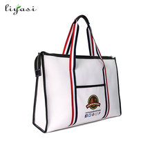 100% Cotton Bag Travel Promotional Carry Bag Pu Leather Tote Bag Cotton Canvas