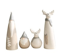 Pottery and porcelain figurines elk Nordic creative Christmas crafts deer modern minimalist Santa Claus ceramic decoration