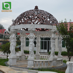 Yellow travertine stone fountain with large column gazebo