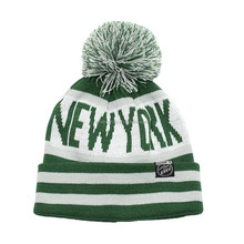 NEW YORK acrylic jacquard stripes knit pom pom beanie hat with cuff