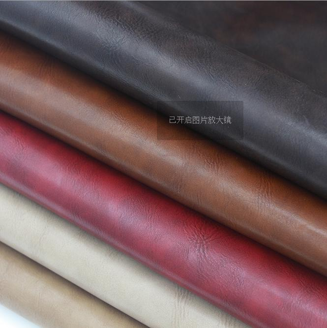 pull up effect pu leather for furnitures shoes ,crazy horse pattern leather