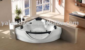 Corner sex massage bathtub with spa function for two person jetted bathtub