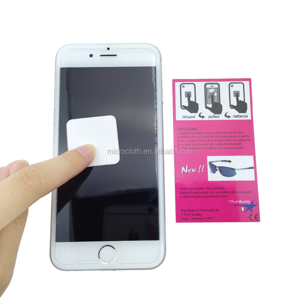 Promotion gift microfiber sticky mobile phone screen cleaner / wipe sticker