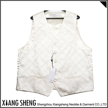 hot sale high quality Silk Formal Mens white Waistcoat