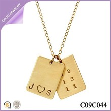 heart & date tag necklace gold plated pendant double tags memorial necklace latest design jewelry for 2015
