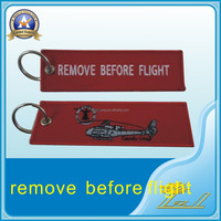 Excellent quality embroidery keychains custom remove before flight