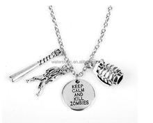 The Walking Dead Necklace With Letters Keep Calm And Kill Zombies Necklaces Silver Link Chain Zombie Necklaces