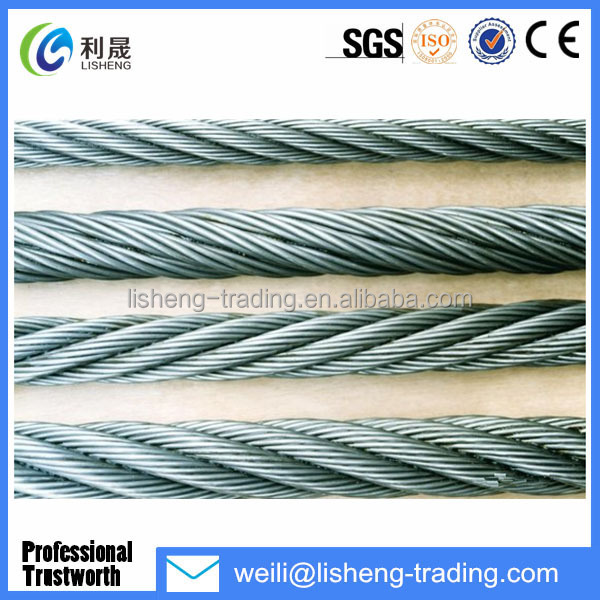 6*19 High Tensile Galvanized steel wire rope for crane