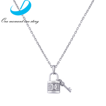 Fashion New Vintage Silver 925 Lock Key Pendant Women's Chain Necklace